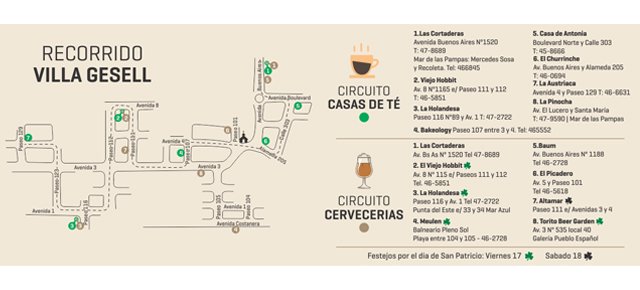 Recorrido de circuito de té y cervecerías en VILLA GESELL!!